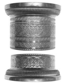 Kapitelloberteil Messingnblech patiniert Durchmesser innen 51mm außen 67mm