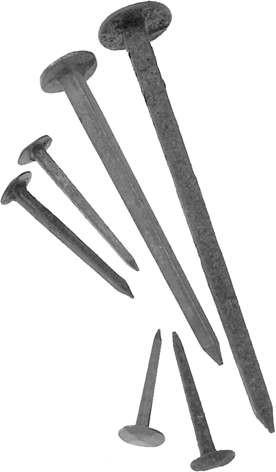 4169: Gehängnagel vierkant konisch geschmiedet, 4 schlägiger Kopf, Eisen blau. In verschiedenen Größen und Mengen lieferbar.