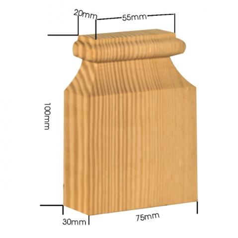 Holzapplikation Breite 75mm Höhe 100mm Tanne Buche