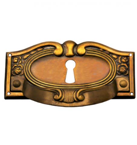 Griffschild mit Schlüsselloch Messingblech 85 x 40mm