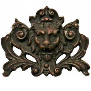 Zierteil Löwe 75 x 95mm Spezialmasse Nussbaum rötlich