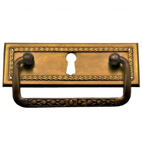 Griffschild mit Schlüsselloch Messingblech 95 x 33mm