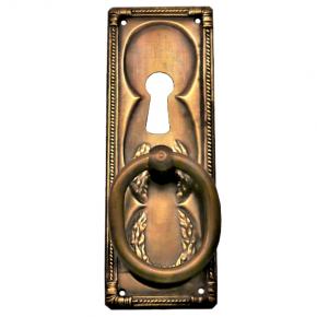 Griffschild mit Schlüsselloch und Ringgriff Messingblech 33 x 95mm