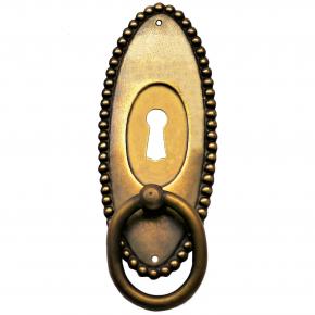 Griffschild mit Schlüsselloch Ringgriff Messingblech 40 x 100mm