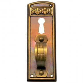 Griffschild mit Schlüsselloch Messingblech 28 x 83mm