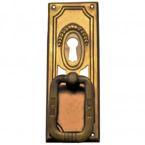 Griffschild mit Schlüsselloch Messingblech 33 x 95mm
