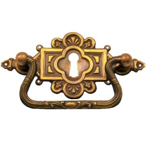 Griff Messingblech mit Schild und Schlüsselloch 95 x 48mm