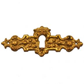 Schlüsselschild mit Schlüsselloch messingguss 100 x 40mm