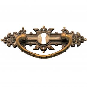 Griffschild mit Schlüsselloch Messingblech 118 x 40mm