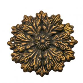 Applikation Blumenmotiv Messingblech Durchmesser 57mm