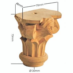 Holzapplikation Linde Breite 70mm Höhe 75mm