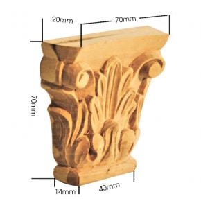 Holzapplikation Linde Breite 70mm Höhe 70mm