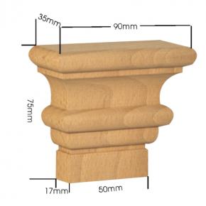 Holzapplikation Breite 90mm Höhe 75mm Tanne Buche Eiche