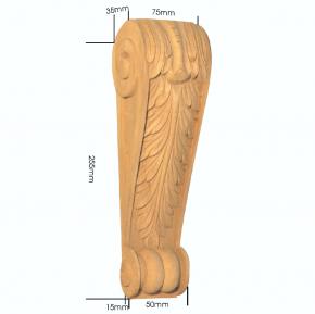 Holzapplikation Linde Breite 75mm Höhe 255mm