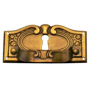 Griffschild mit Schlüsselloch Messingblech 65 x 30mm